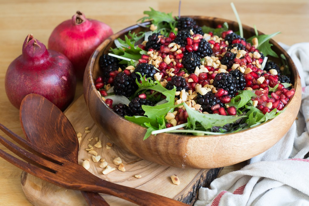 Berry Salad with Red Onions , Arugula, Nuts and Pomegranate Arils