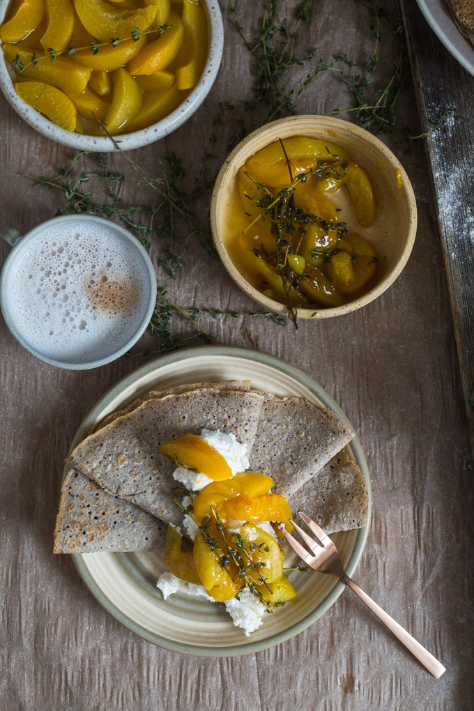 Buckwheat Crepes with Ricotta and Peach Thyme Confiture