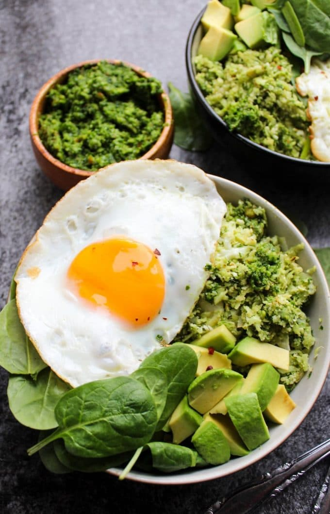 Pesto Cauliflower Rice Breakfast Bowl