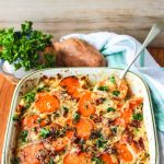 Scalloped Sweet Potatoes with Bacon and Herb Sauce