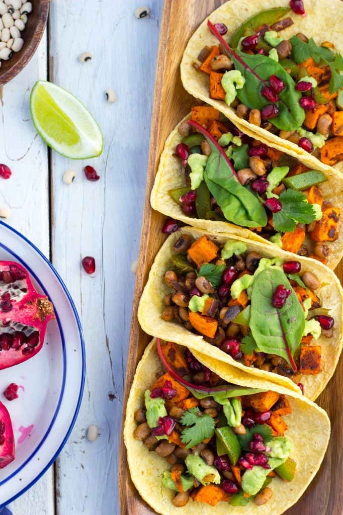 Black Eyed Pea and Sweet Potato Tacos with Pomegranate Seeds