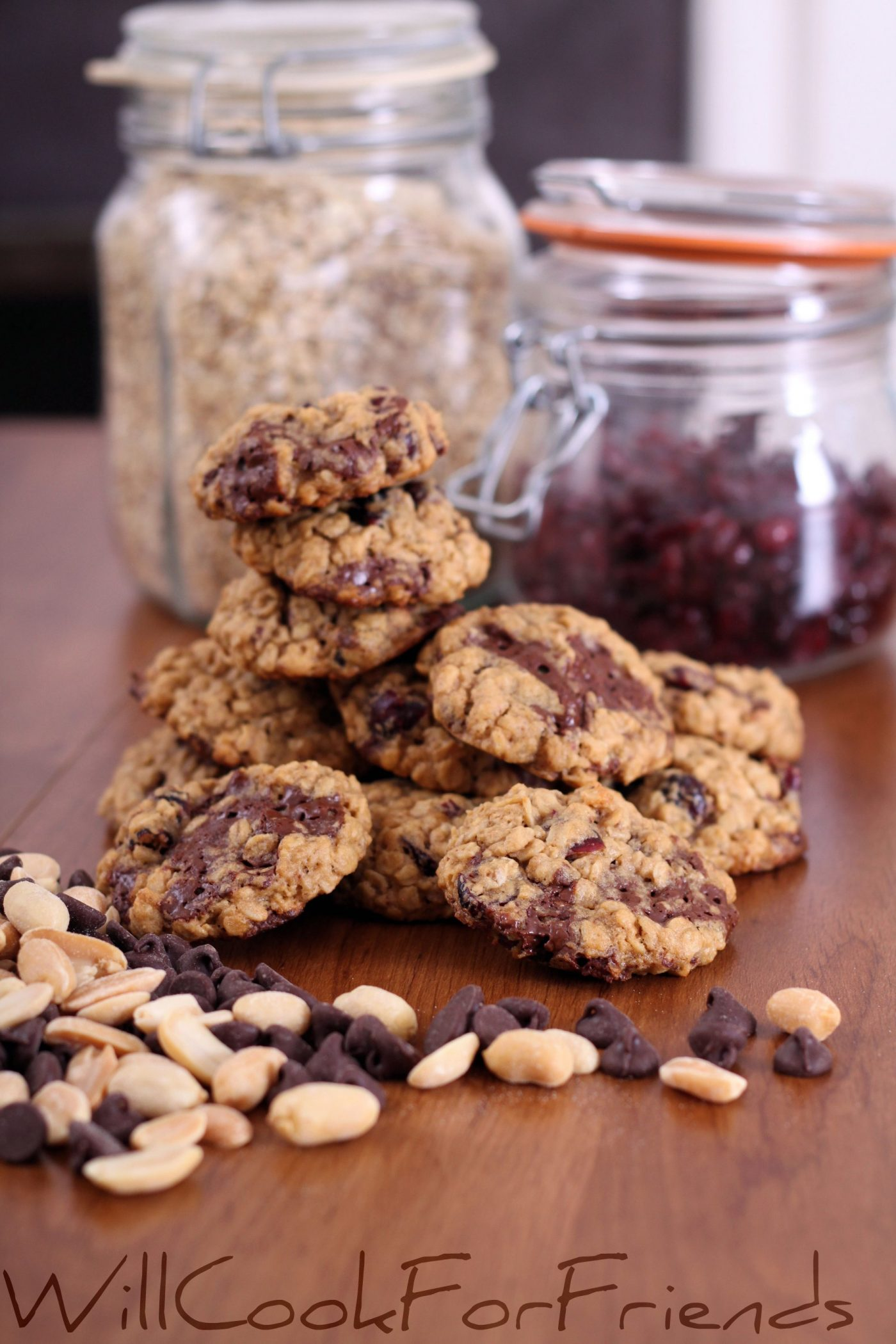 Chocolate Peanut Butter Oatmeal Cranberry Cookies