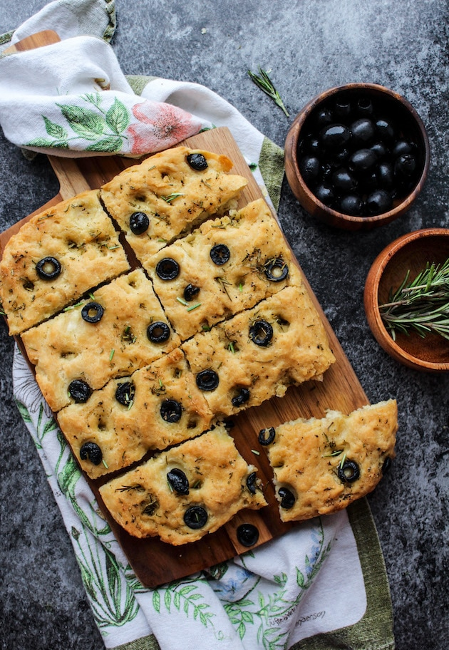 Focaccia with Black Olives and Rosemary