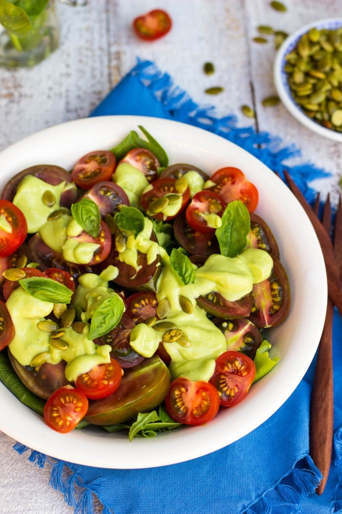 Heirloom Tomato Salad with a Creamy Avocado and Basil Dressing