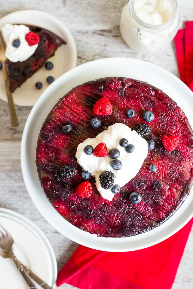 Mixed Berry Upside Down Chocolate Cake