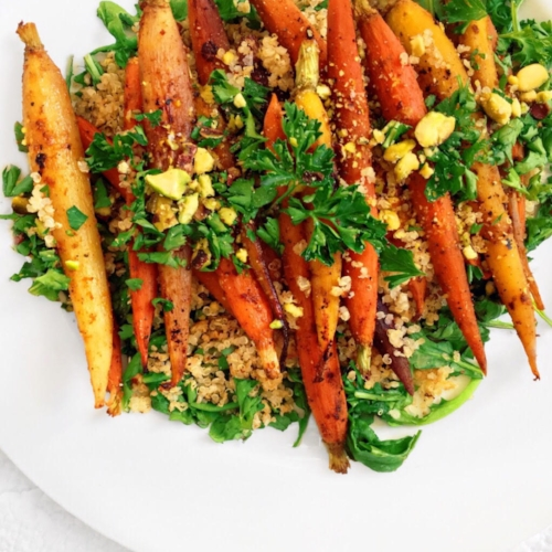 Moroccan Spiced Carrot Salad with Quinoa and Arugula