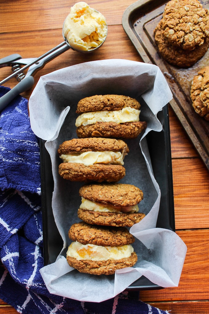Oatmeal Cookies and Ice Cream Sandwiches