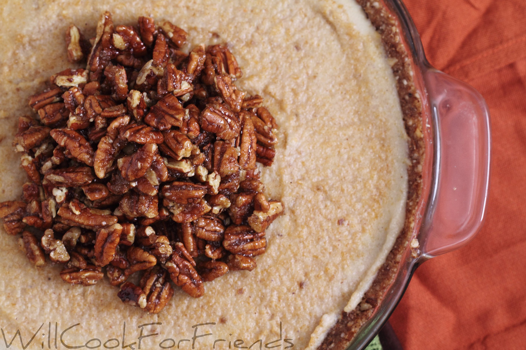 Pumpkin Cheesecake with Pecan Topping