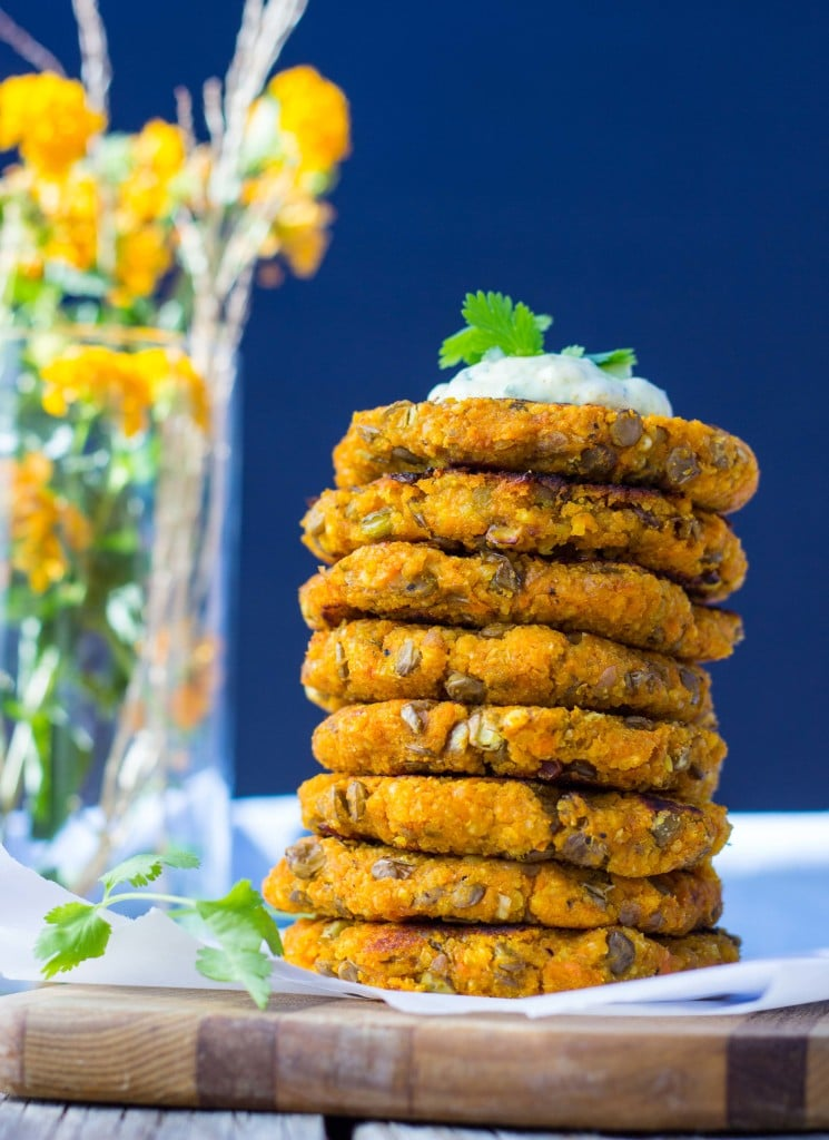 Sweet Potato, Millet and Lentil Cakes with Curry Cilantro Mago
