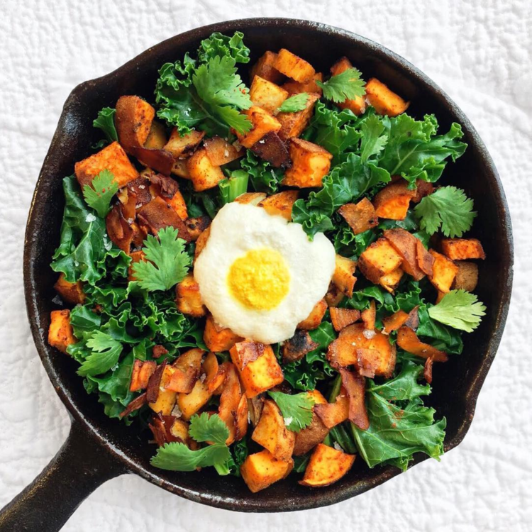 Sweet Potato and Kale Hash with Cashew Cream