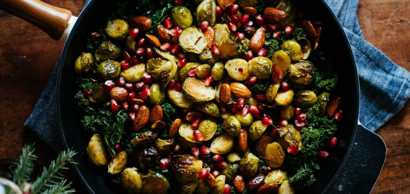 Brussels Sprout Salad With Kale, Pomegranate And Smokey Almonds
