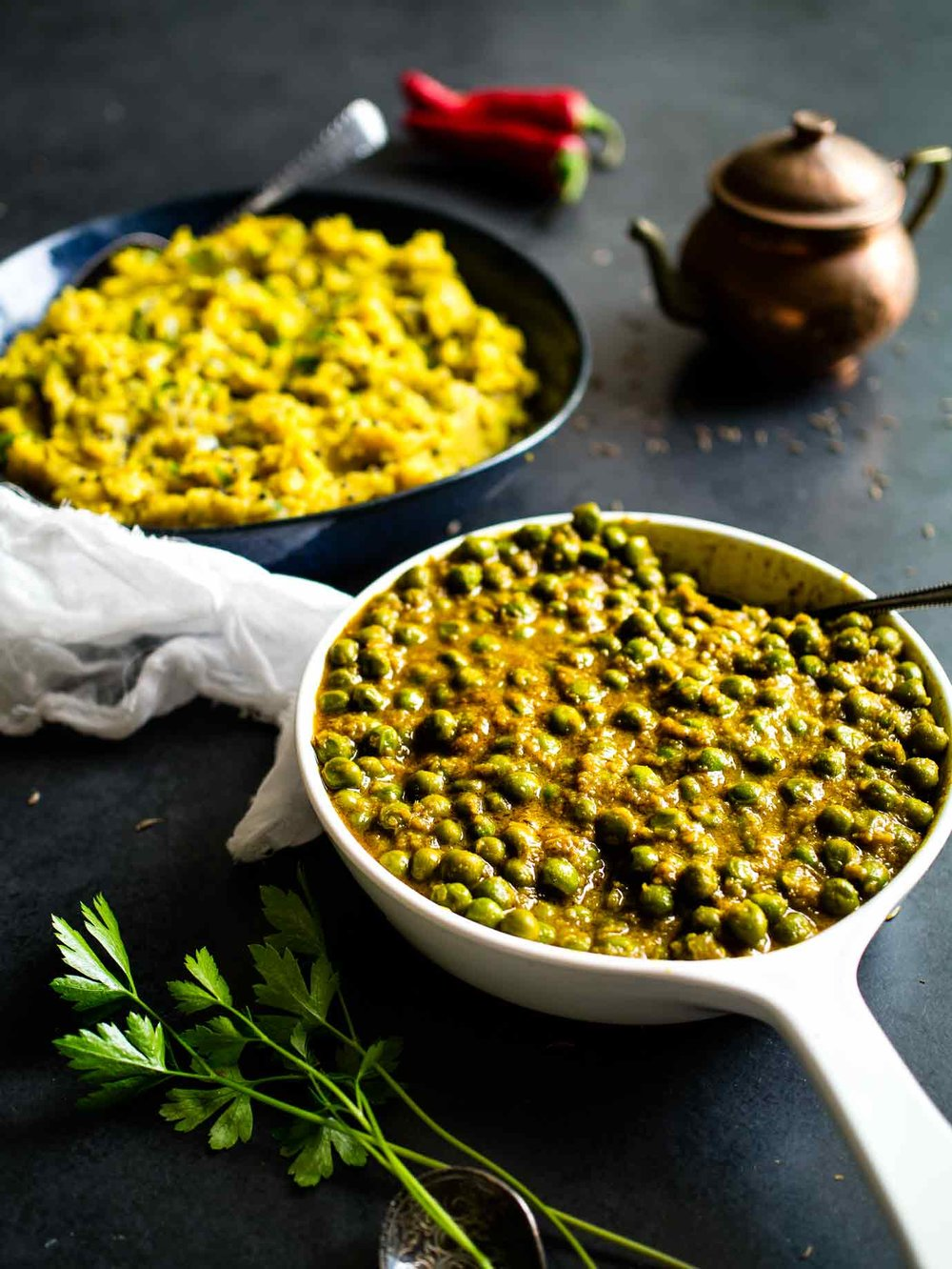 Curried Peas With Spiced Potato Mash