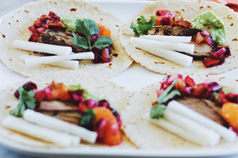 Duck Confit Tacos With Fresh Cherry Orange Salsa