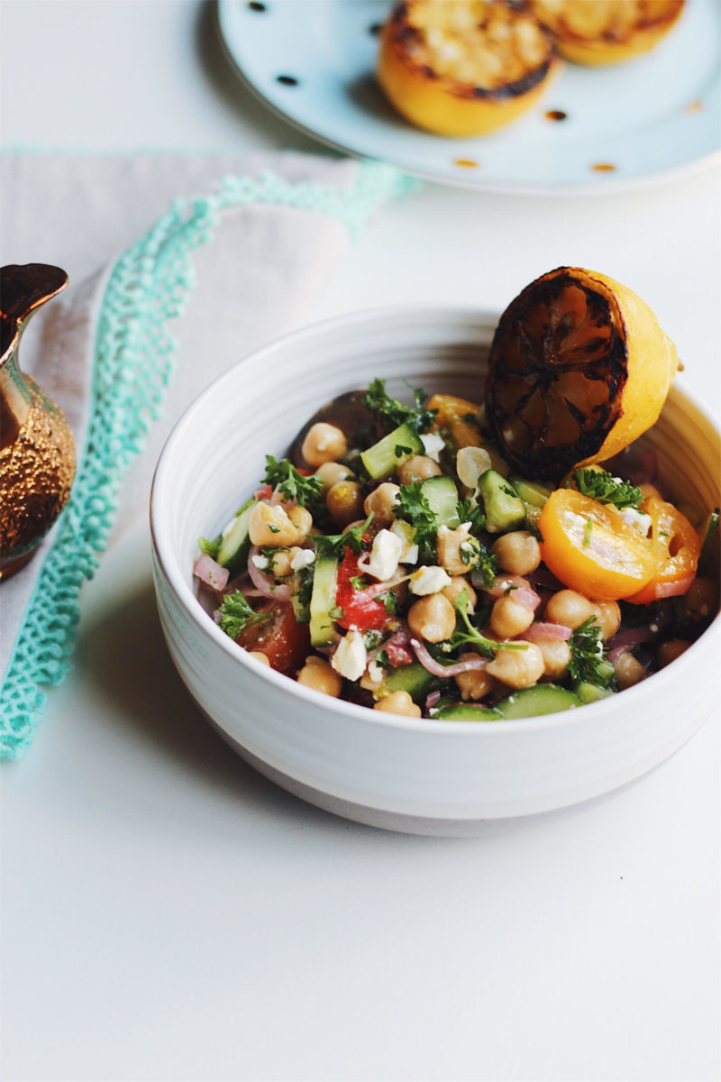 Grilled Lemon Chickpea Salad With Picked Shallots