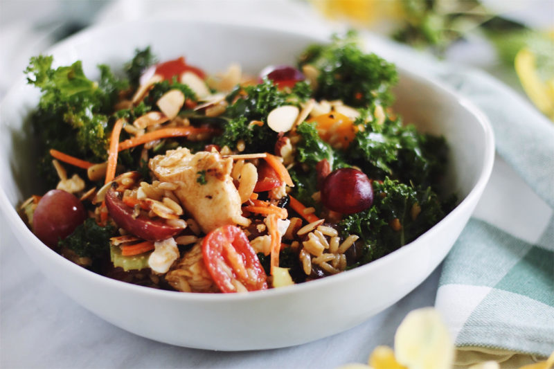 Kale And Chicken Wild Rice Salad With Grapes And Goat Cheese