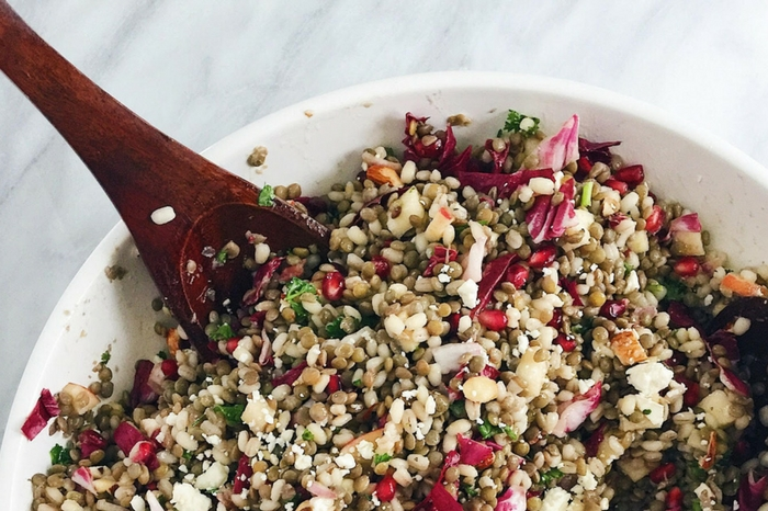 Lentil And Barley Salad With Pomegranate And Feta