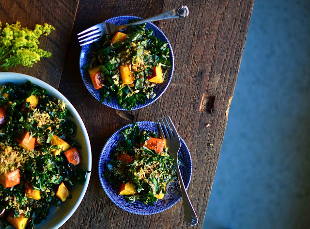 Maple Roasted Kuri Squash, Kale And Quinoa Pangrattato
