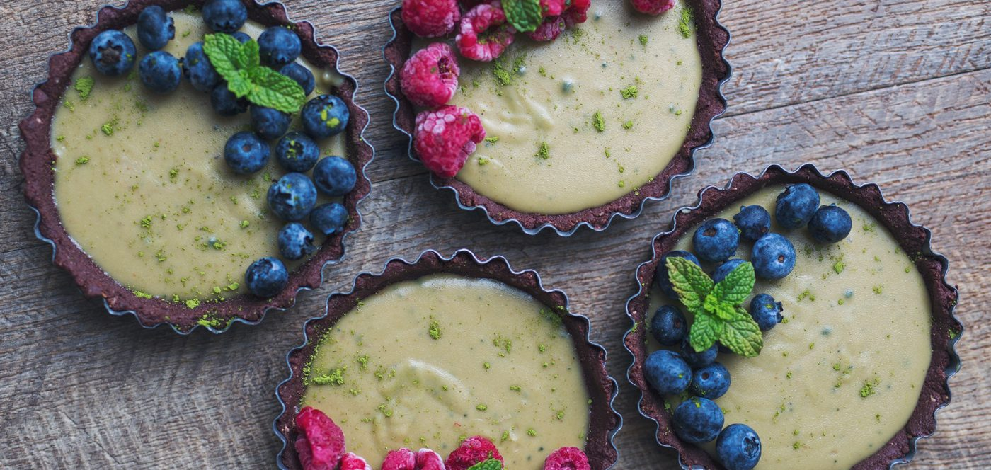 Matcha Chocolate And Berry Tarts