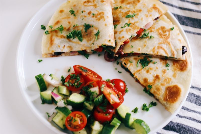 Mediterranean Quesadillas With Hummus And Feta