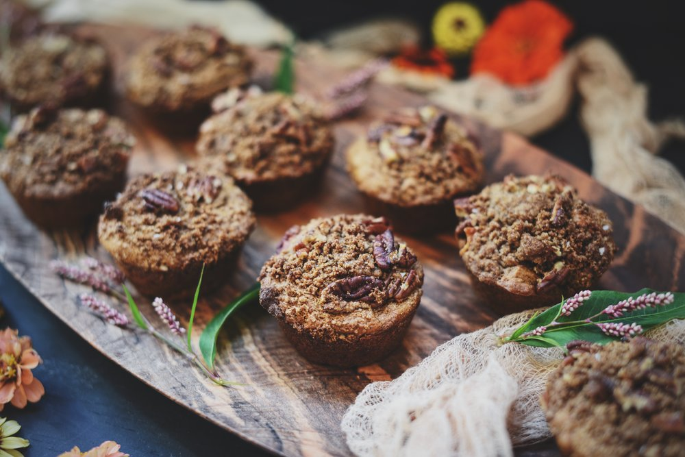Pecan Streusel Spiced Sweet Potato Muffins