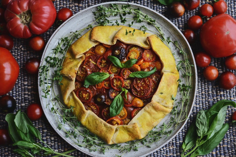 Rustic Heirloom Tomato Tart With Thyme Crust