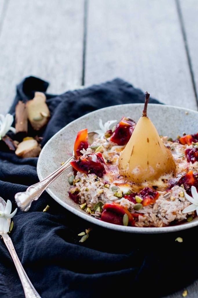 Brulee Bircher Muesli With Ginger Poached Pear