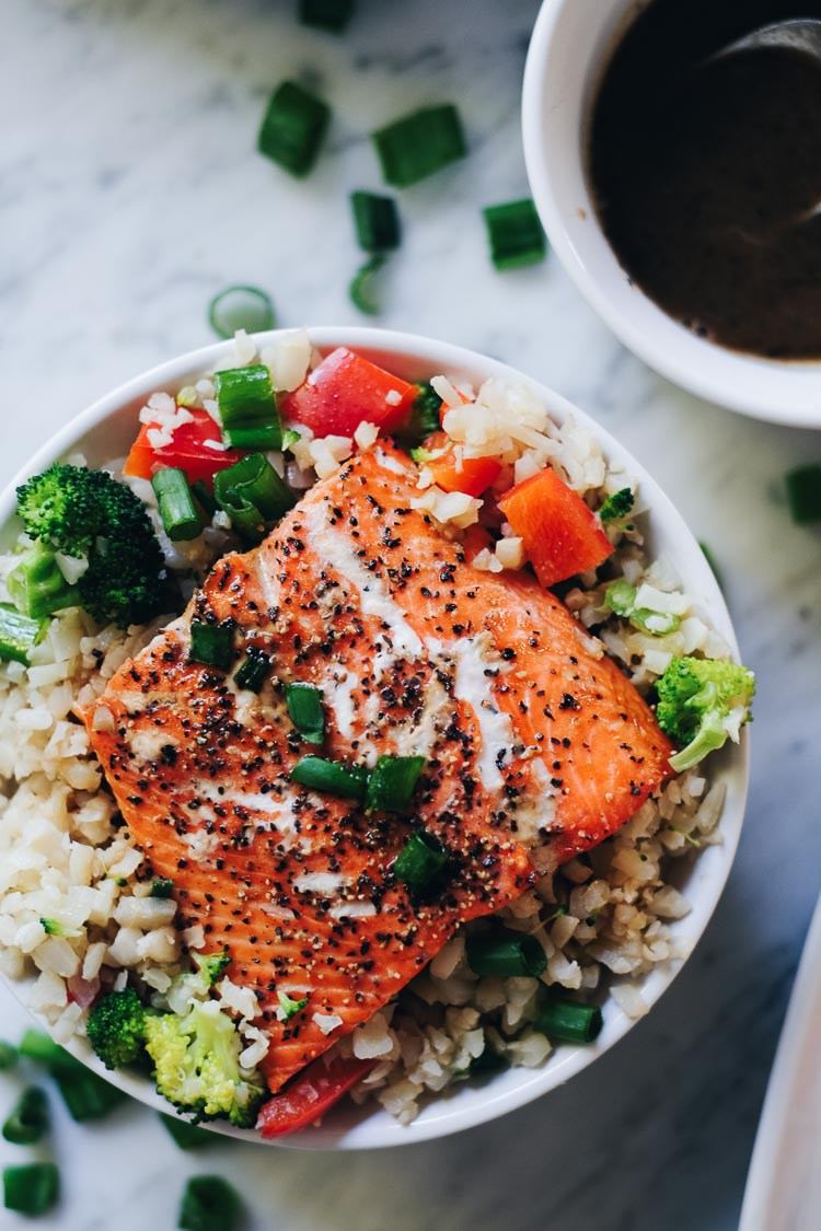 Honey Ginger Salmon Bowls