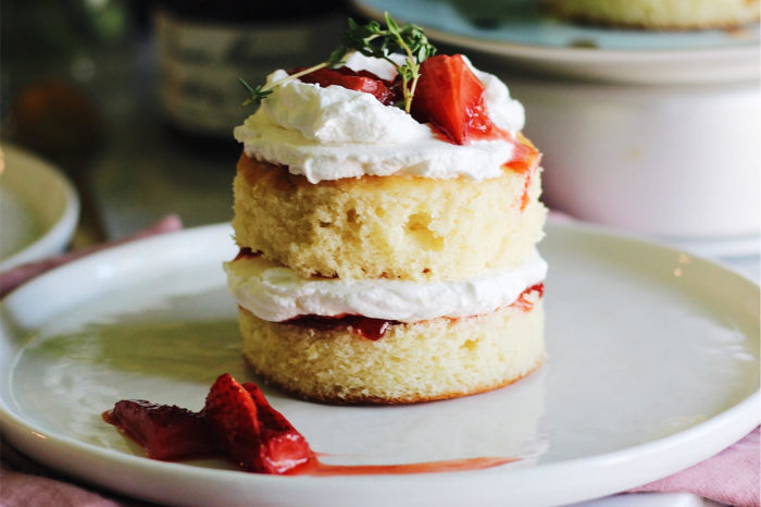 Mini Lemon Cakes Wtih Thyme, Roasted Strawberries And Whipped Cream
