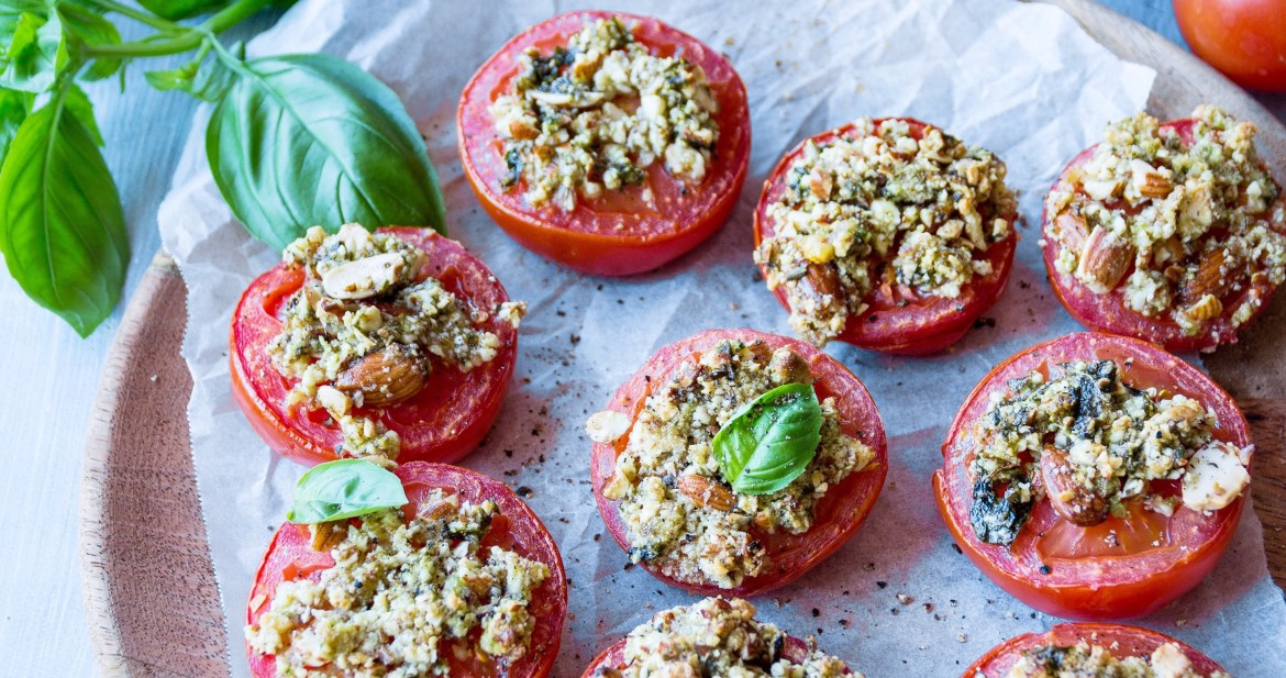 Roasted Tomatoes With Almond Basil Crust