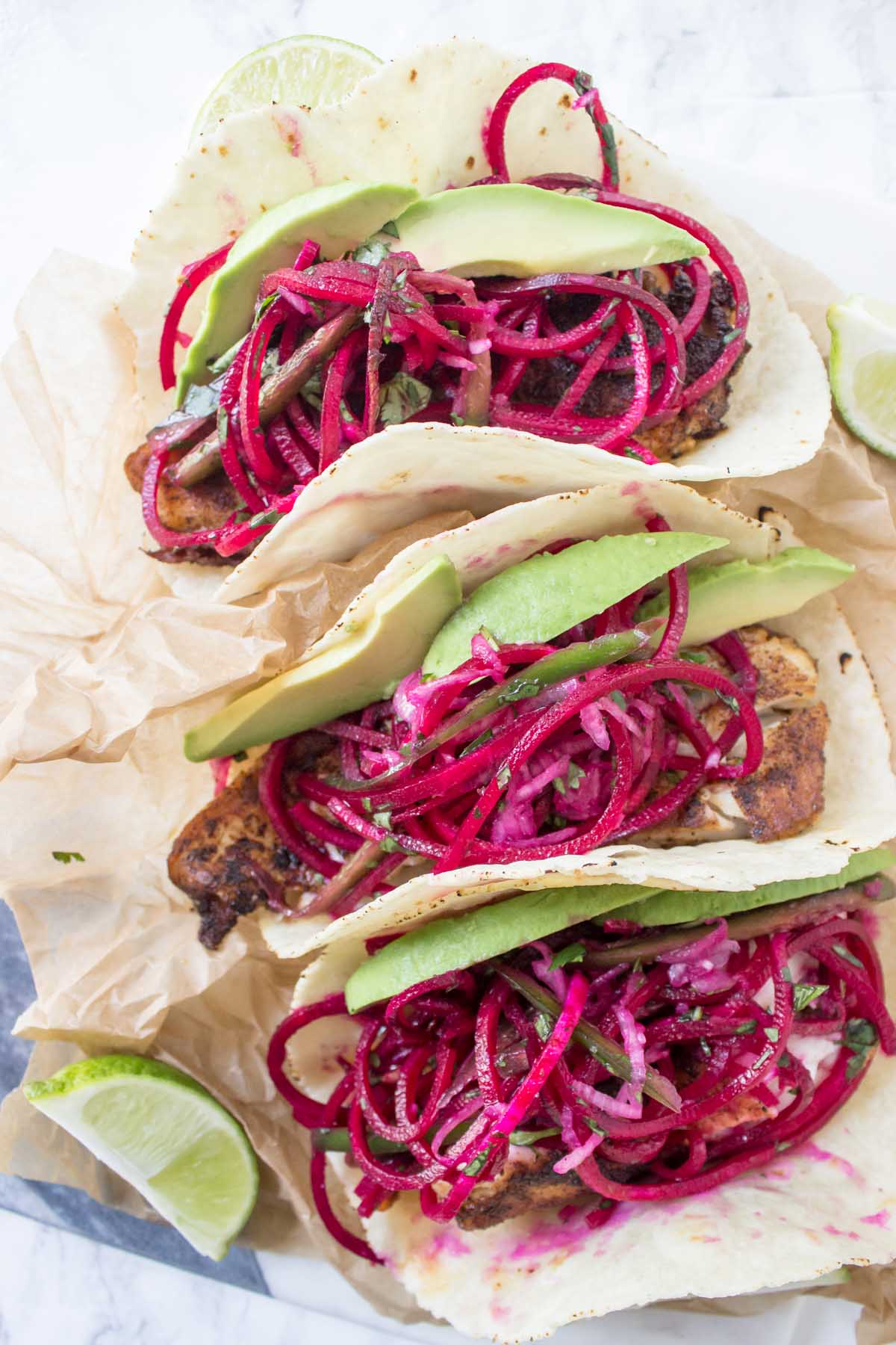 Spicy Fish Tacos With Beet Slaw