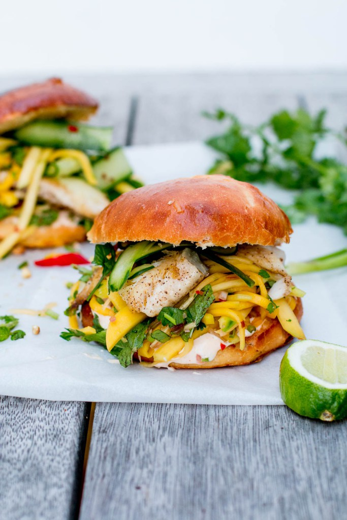 Thai Fish Burgers With Green Mango And Papaya Slaw