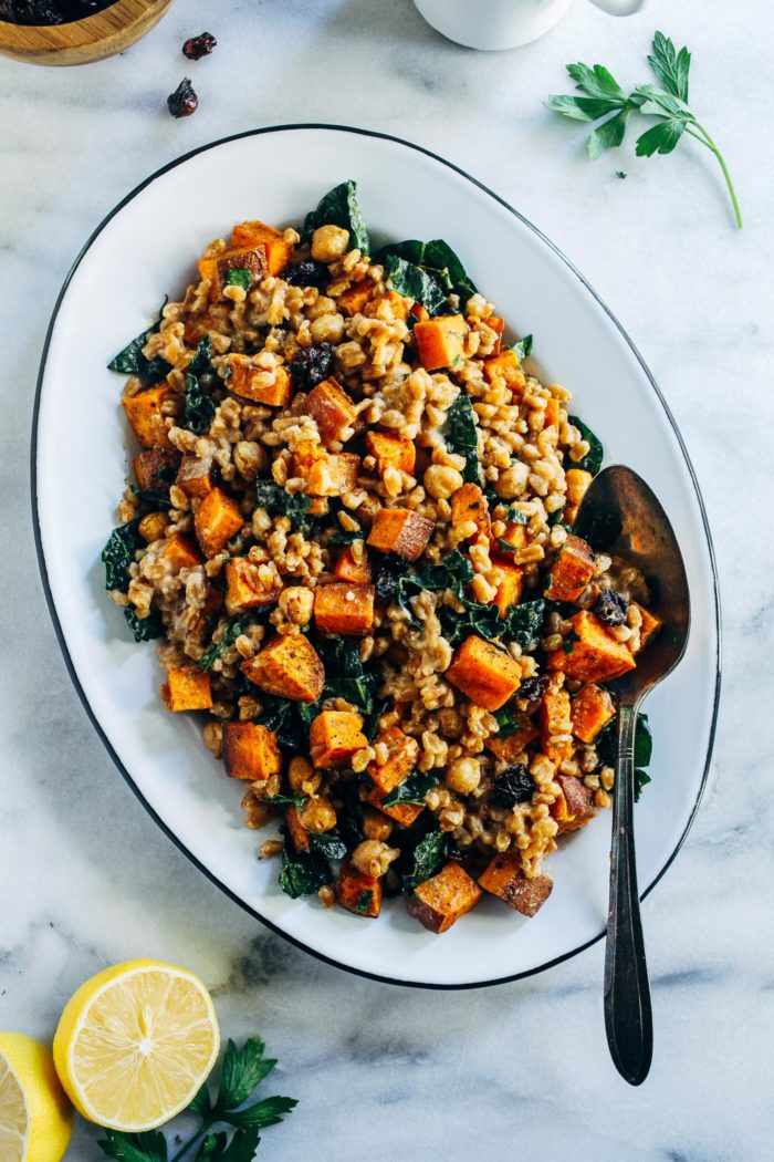 Roasted Sweet Potato Farro Salad With Lemon Tahini Dressing 5 700x1050